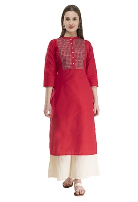 red Womens Embroidered polly silk RK2162F