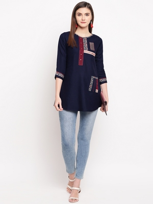 Navy Blue Embroidery With Print  A-line Short kurti