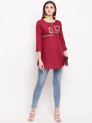 Maroon Embroidery With Print  A-line Short kurti