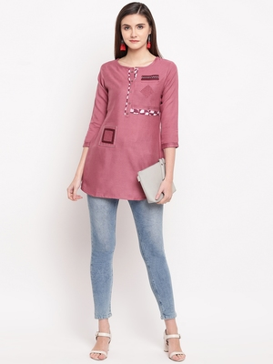 Pink Embroidery With Print  A-line Short kurti