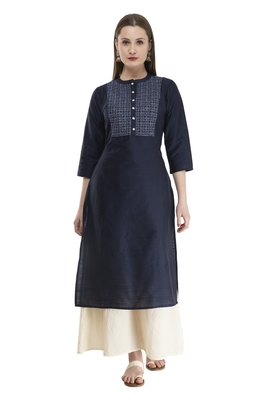 navy blue Womens Embroidered polly silk RK2162G