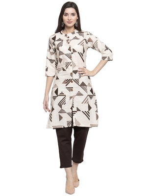 Indibelle Beige printed cotton kurtas-and-kurtis