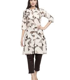 Indibelle Beige printed cotton kurtas-and-kurtis