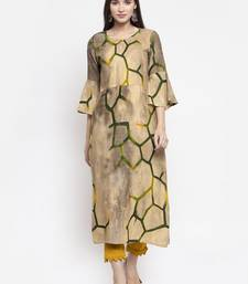 Indibelle Cream printed rayon kurtas-and-kurtis