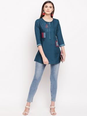 Teal Blue Embroidery With Print  A-line Short kurti