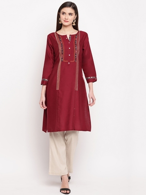 Maroon Embroidery With Print  Staright Kurti