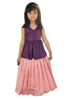 Kids Bit Top And Pink Lehenga Choli