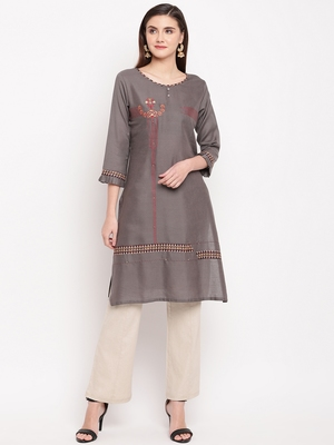 Grey Embroidery With Print  Staright Kurti