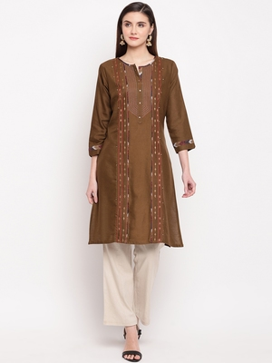 Brown Embroidery With Print  Staright Kurti