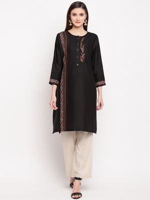 Black Embroidery With Print  Staright Kurti