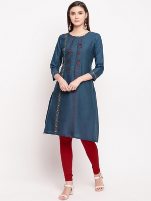 Teal Blue Embroidery With Print  Staright Kurti