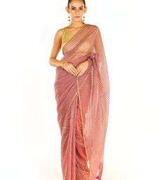 Pink Colour Blended Organza Saree With Beeded Lace Border
