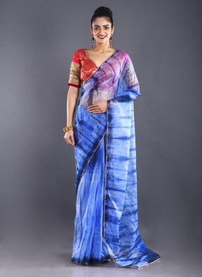 Blue & Royal Blue Organza Tie  Dye Saree With Golden Border