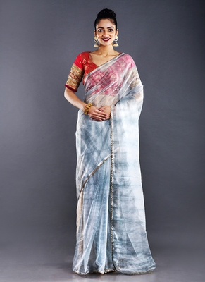 grey & dark grey organza tie  dye saree with golden border