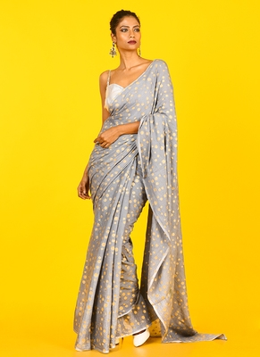 Grey Blended Chiffon With Golden Polka