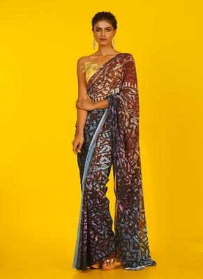 brown kitsch ikkat blended georgette digital printed saree