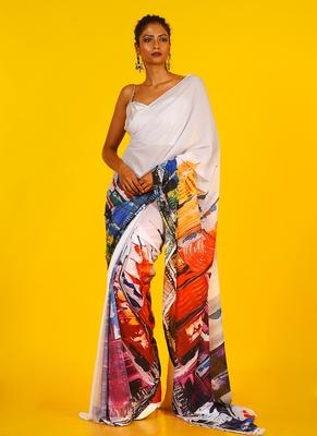 multi sky line blended georgette digital printed saree