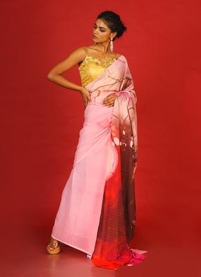 pink impluse blended georgette digital printed saree