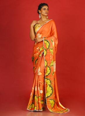 Orange Pool Lotus Blended Linen Satin Digital Printed Saree