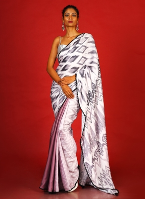 Monochrome Ikkat  Blended Linen Satin Digital Printed Saree