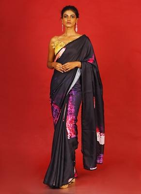 pink on black soul ages  blended linen satin digital printed saree
