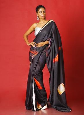 red on black soul ages  blended linen satin digital printed saree
