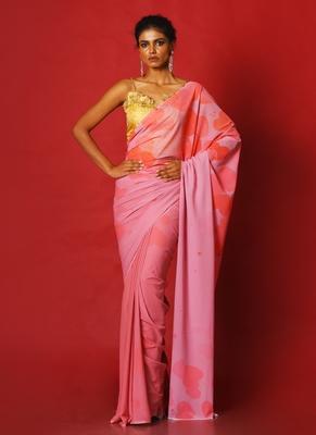flirty pink blended georgette digital printed saree