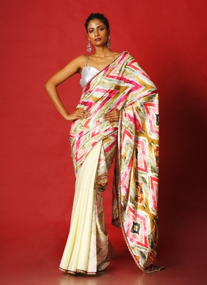 multi spin  blended linen satin digital printed saree