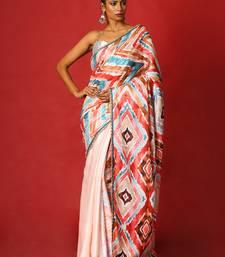 Red & Green Spin Blended Linen Satin Digital Printed Saree