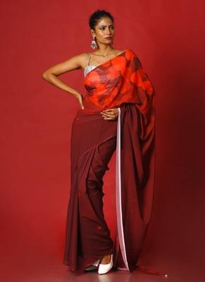 flirty maroon blended georgette digital printed saree