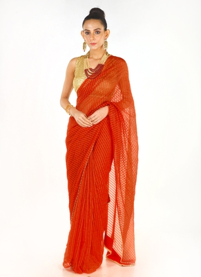 red colour blended organza saree with beeded lace border