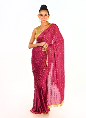 maroon colour blended organza saree with beeded lace pallu