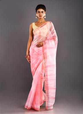 pink & magenta organza tie  dye saree with golden border