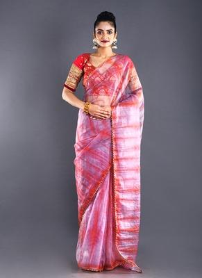Pink & Red Organza Tie  Dye Saree With Golden Border
