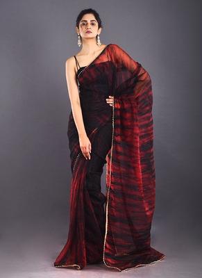black & red tie & dye organza saree