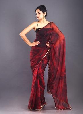 red & black tie & dye organza saree