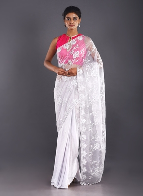 grey embroidered organza saree with chiffon