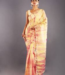 Yellow & Red Tie & Dye Organza Saree