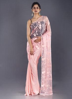 pink embroidered organza saree with chiffon