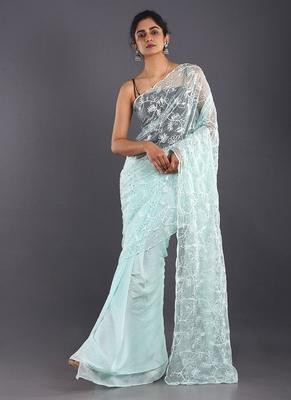 aqua blue embroidered organza saree with chiffon
