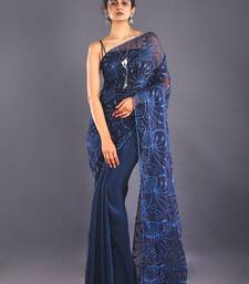 Navy Blue Embroidered Organza Saree With Chiffon