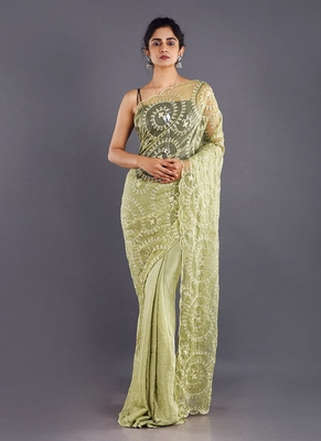 Lime Green  Embroidered Organza Saree With Chiffon