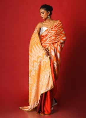 warm ikkat  blended linen satin digital printed saree