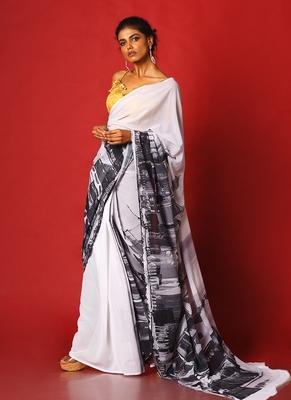 black & white sky line blended georgette digital printed saree