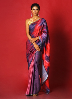 purple whiny ikkat blended linen satin digital printed saree