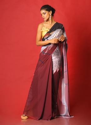 maroon & black aves blended georgette digital printed saree