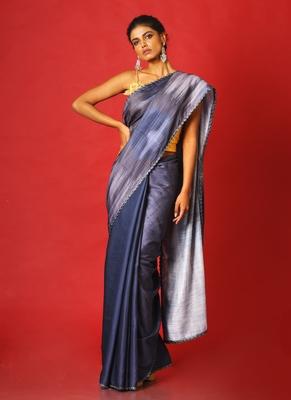 grey whiny ikkat blended linen satin digital printed saree