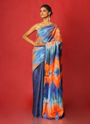 blue whiny ikkat blended linen satin digital printed saree