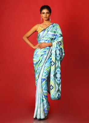 mint ikkat  blended linen satin digital printed saree