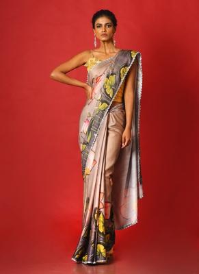beige pool lotus blended linen satin digital printed saree